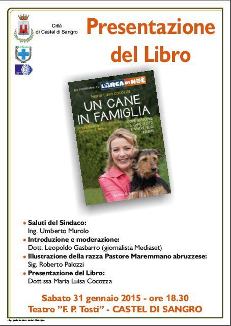 Dal Tg 5 a Castel di Sangro, Maria Luisa Cocozza presenta 'Un cane in famiglia'