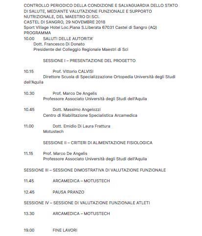 Progetto M.E.T.A. Team - Campus per maestri di sci - Controllo salute