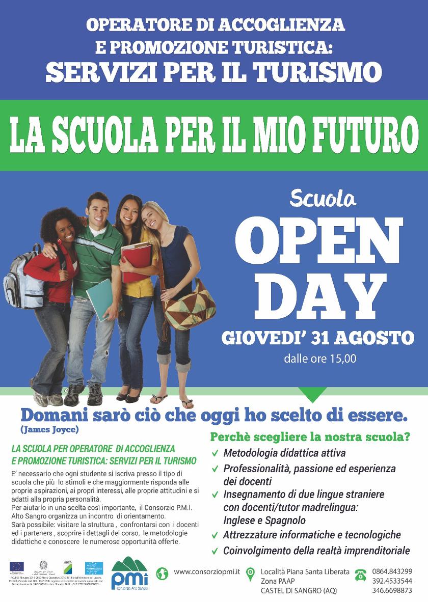 Servizi per il Turismo: scuola open day operatore accoglienza promozione turistica pmi Castel di Sangro