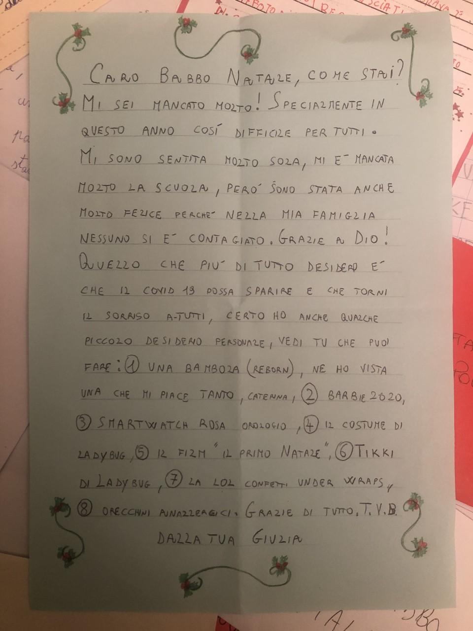 Letterina Babbo Natale Poste Italiane 2020