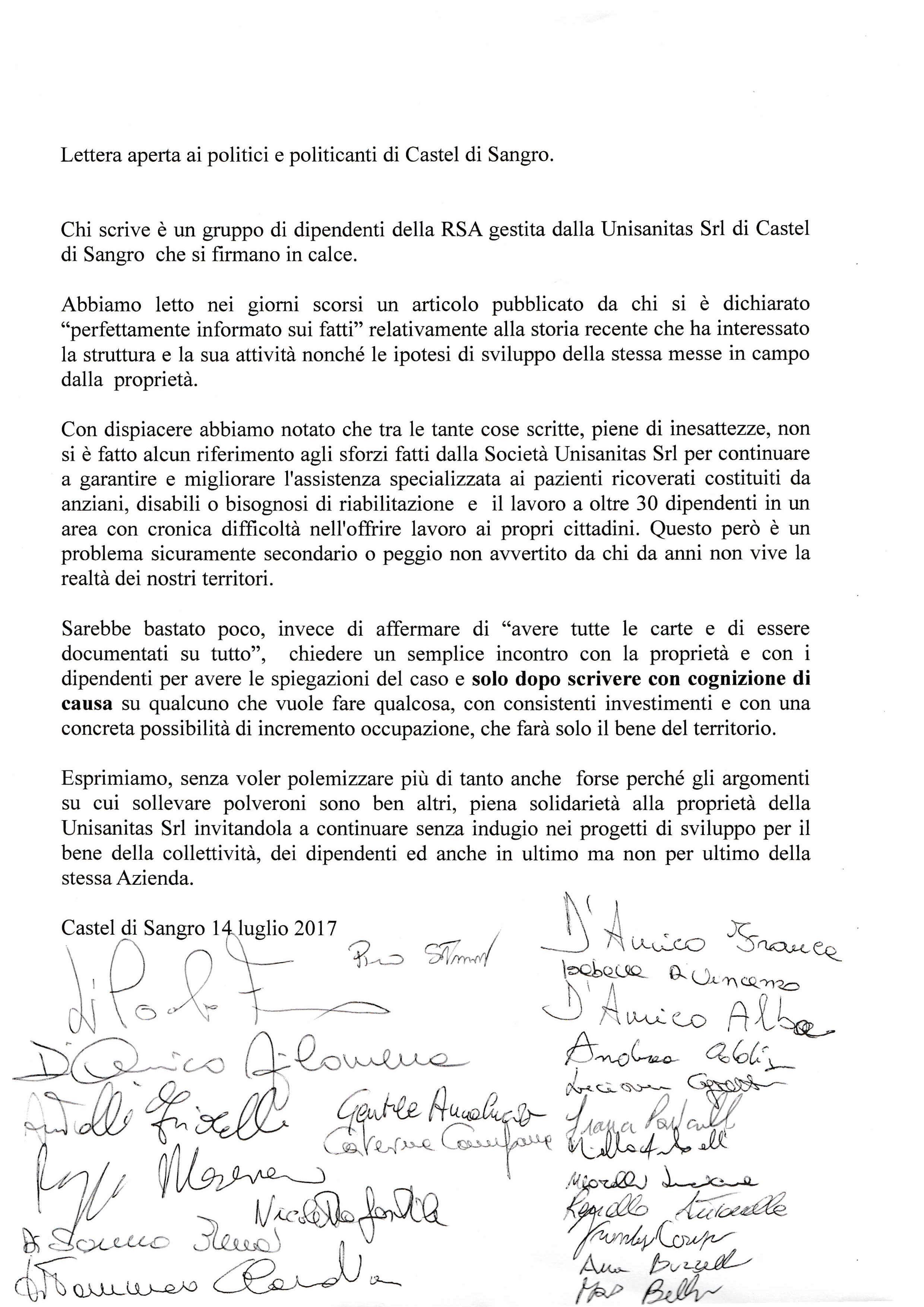 Lettera aperta dipendenti della Rsa Unisanitas srl di Castel di Sangro