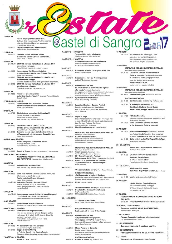 MANIFESTO ESTATE CASTELLANA 2017