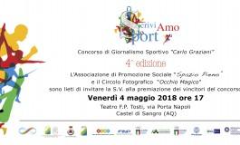 """""""ScriviAMO lo sport"""", il 4 maggio la premiazione dei vincitori a Castel di Sangro"""