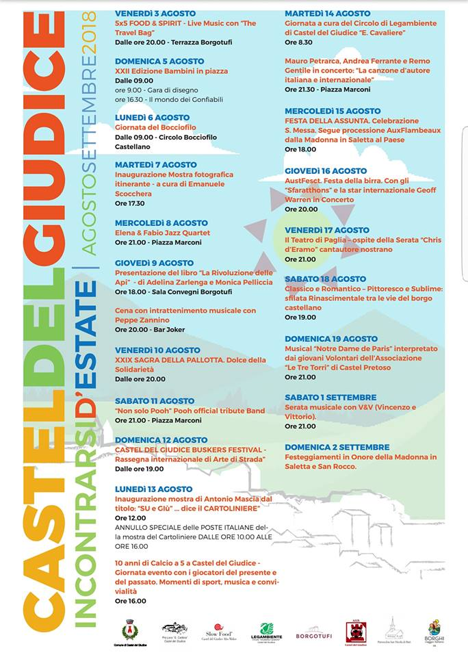 Programma estate a Castel del Giudice 2018