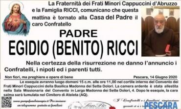 Ateleta, si è spento a Pescara padre Egidio Ricci: domani le esequie