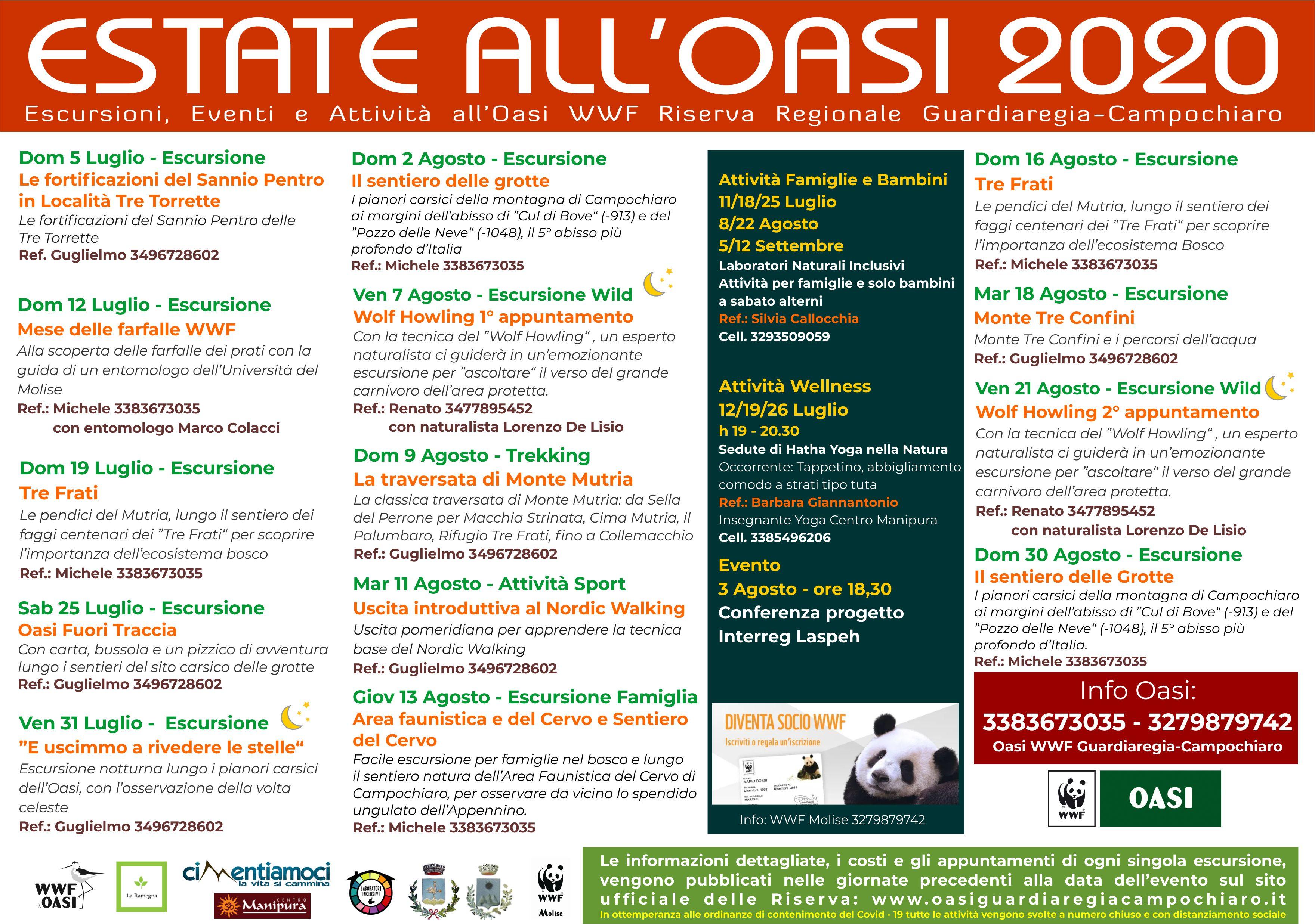Calendario Estate all'Oasi 2020