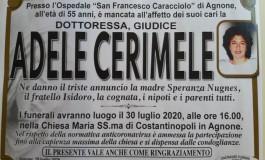 Lutto, scompare Adele Cerimele: era il giudice di pace di Agnone