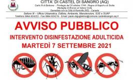 Castel Di Sangro, disinfestazione adulticida tra lunedì 6 e martedì 7 settembre 2021