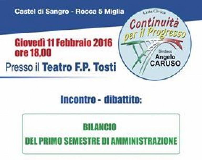 Castel di Sangro, sei mesi di governo Caruso. Stasera, ore 18 al Teatro Tosti