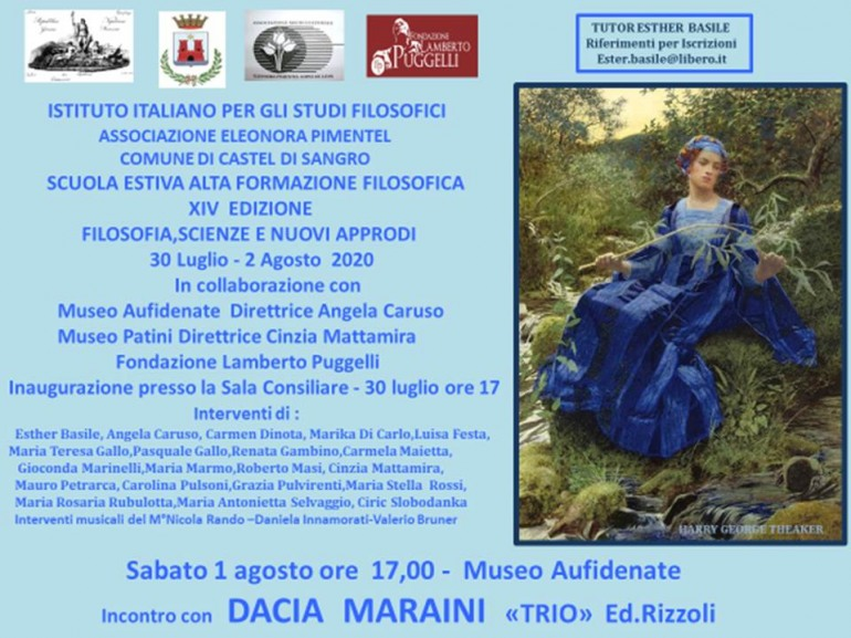 Torna a Castel di Sangro la scuola estiva di alta formazione filosofica: ospite Dacia Maraini