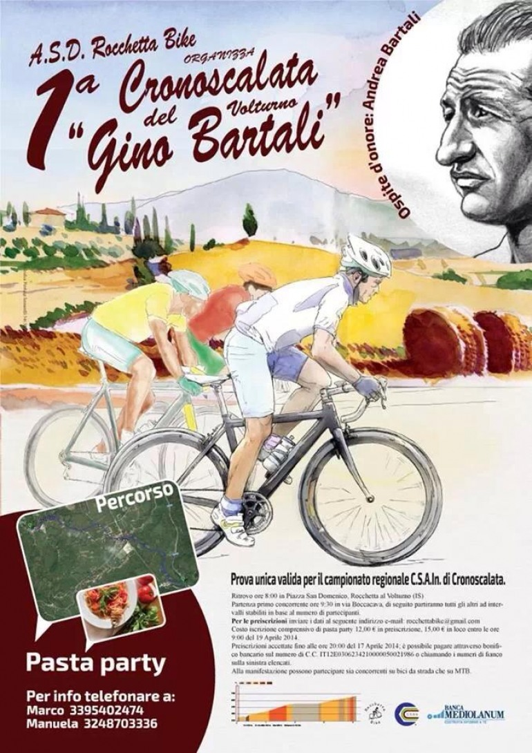 """Appuntamenti – Sabato, la 1^ cronoscalata """"Gino Bartali"""" a Rocchetta a Volturno"""