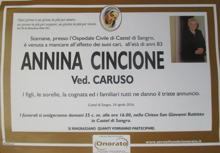 Lutto a Castel di Sangro: il Sindaco Angelo Caruso piange la mamma Annina