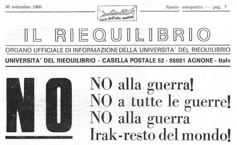 """Agnone: """"No alla guerra in Siria e Iraq, No a tutte le guerre"""", grida l'Università del Riequilibrio"""