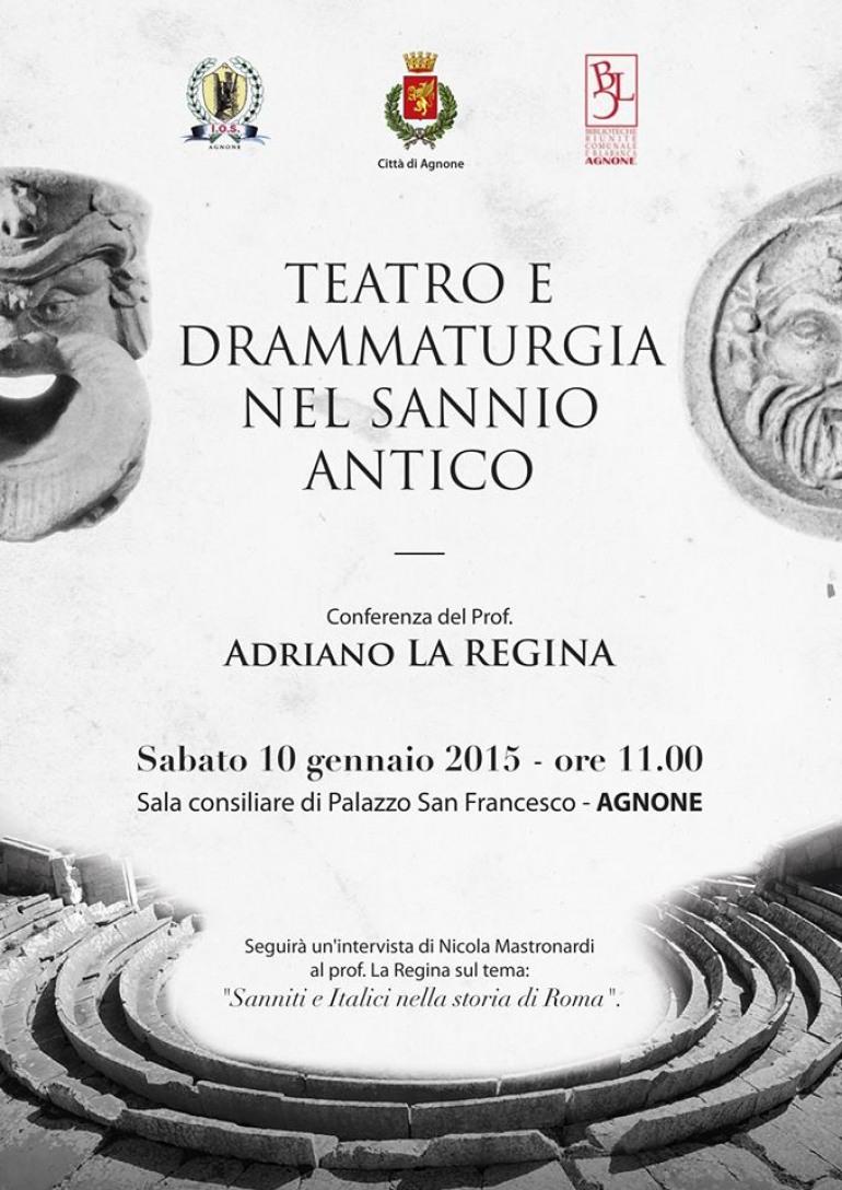 """Conferenza di Adriano La Regina su """"Teatro e drammaturgia nel Sannio antico"""""""