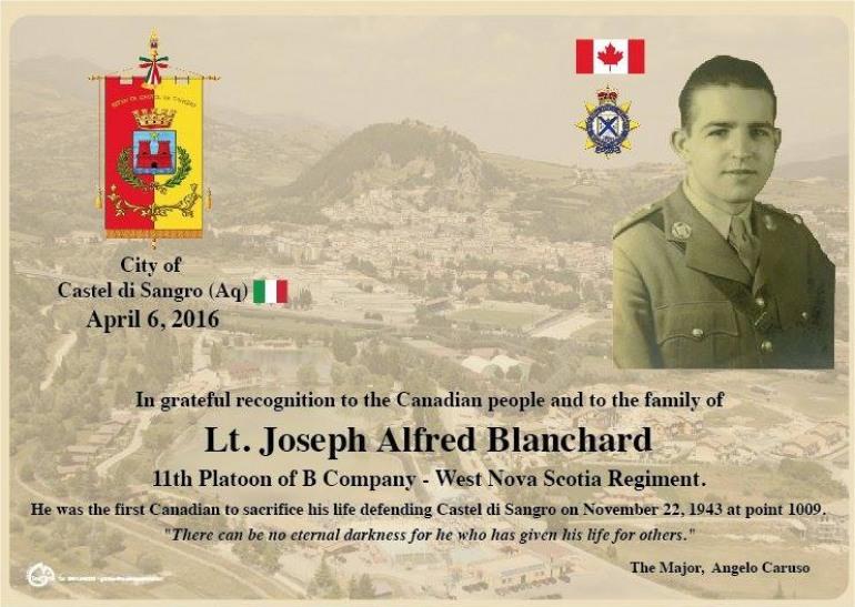 Dal Canada a Castel di Sangro per vedere dove morì lo zio in combattimento