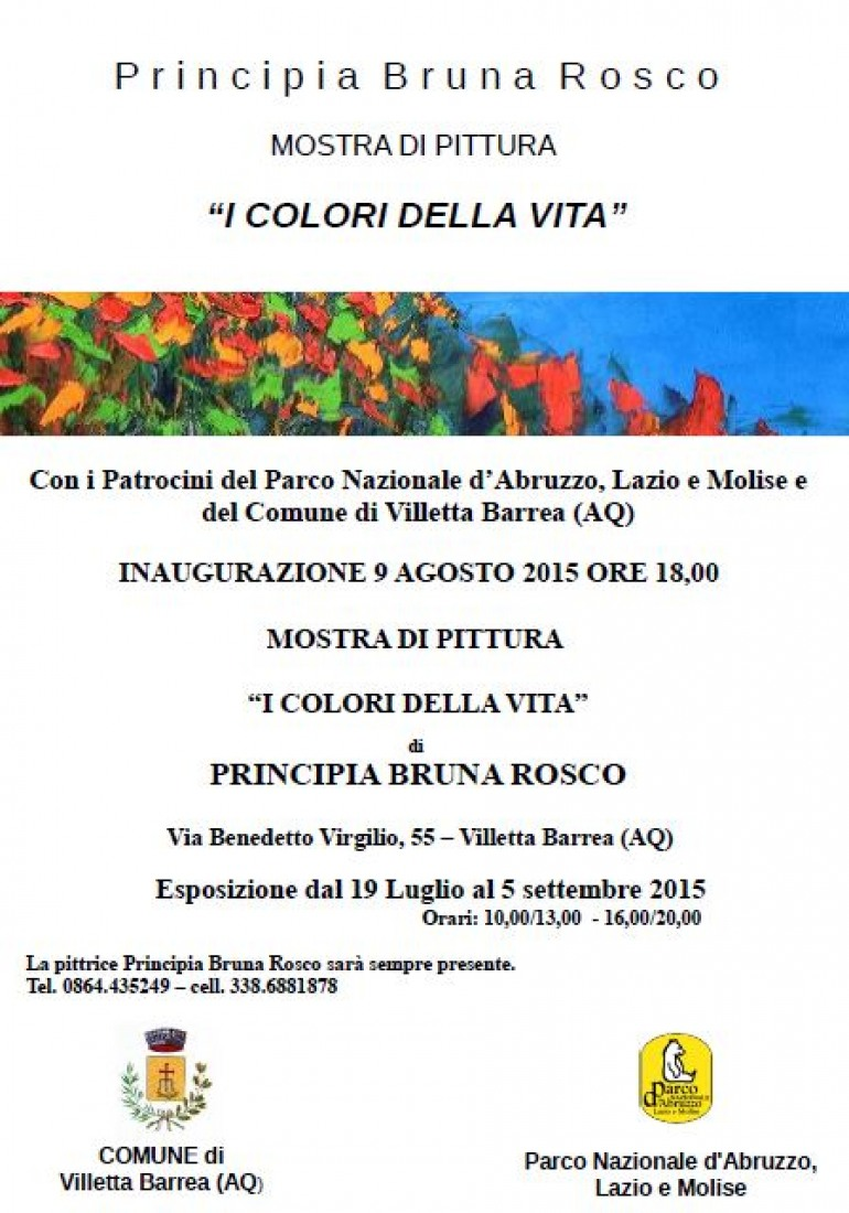 """Principia Bruna Rosco annuncia """"I colori della vita"""", mostra di pittura a Villetta Barrea"""