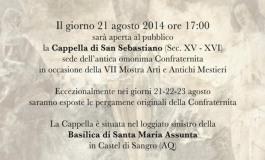 Castel di Sangro, Dopo 400 anni riapre la Cappella di San Sebastiano