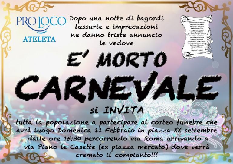 Ateleta, divertente funerale a Carnevale: domenica 11 febbraio