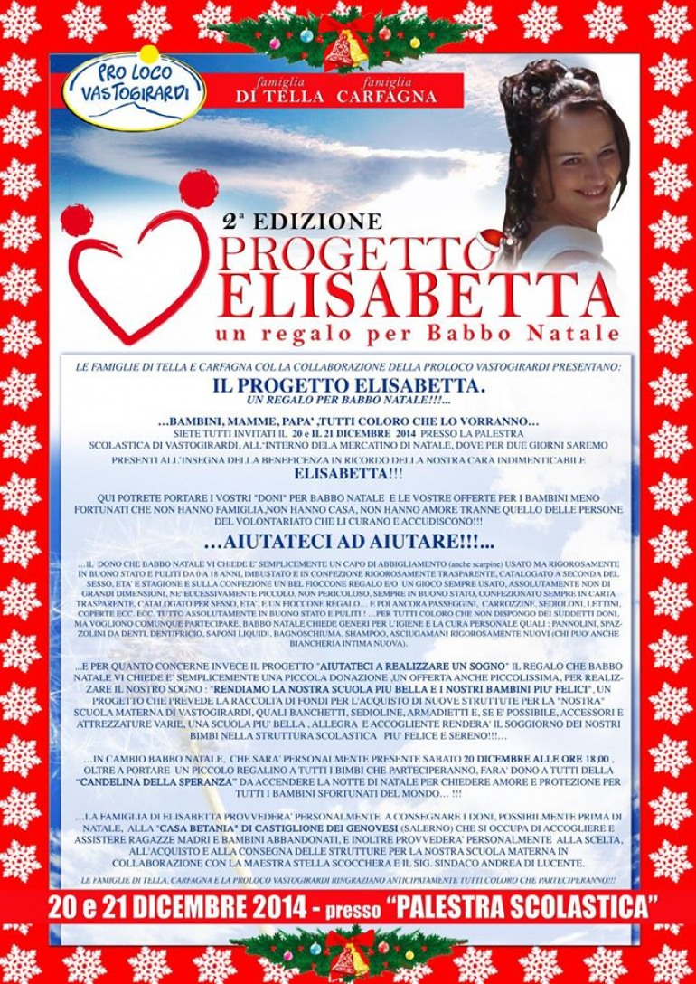 Natale a Vastogirardi significa solidarietà: torna il progetto ' Elisabetta'