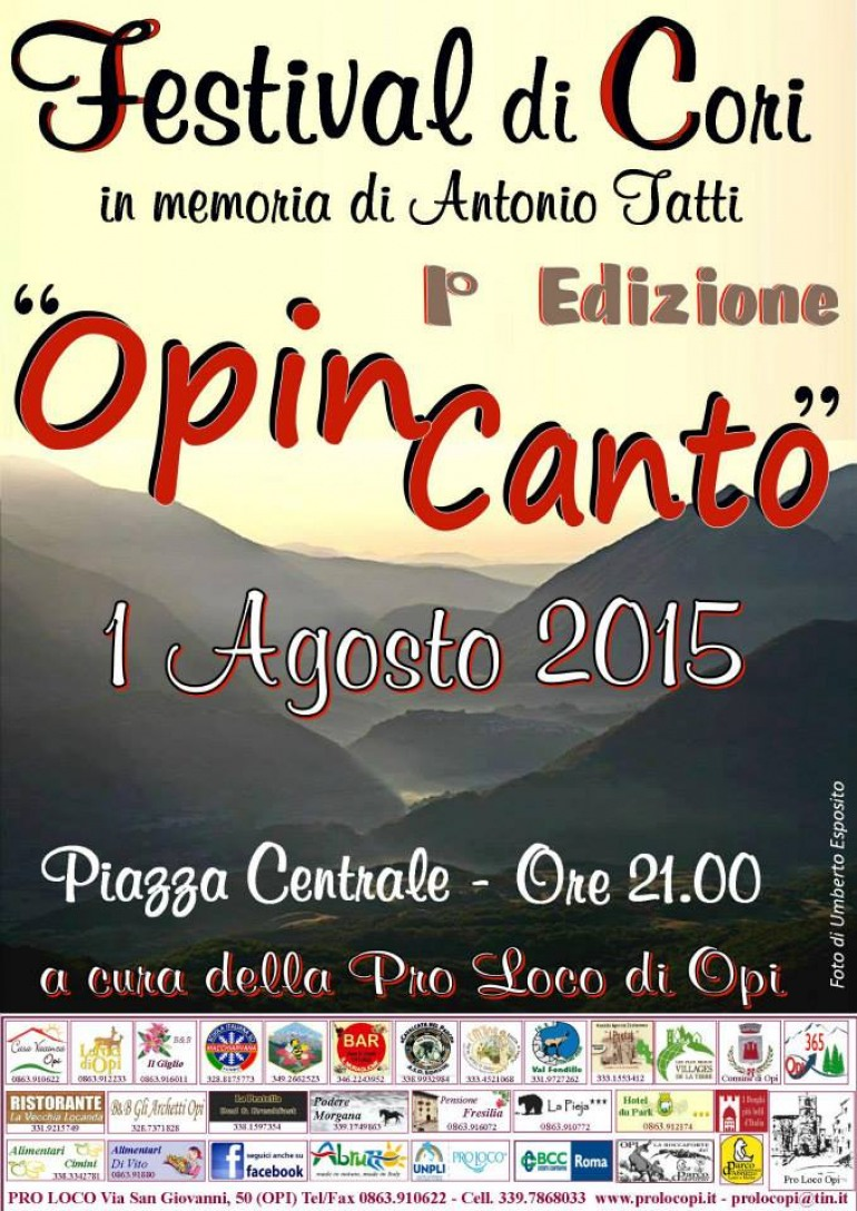 """Festival di Cori, prima edizione di """"Opi..incanto"""""""