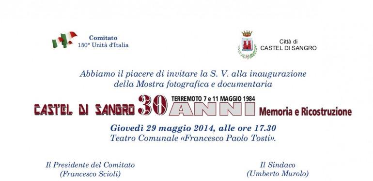 Castel di Sangro, Invito a teatro. Immagini e testimonianze sul sisma del 1984
