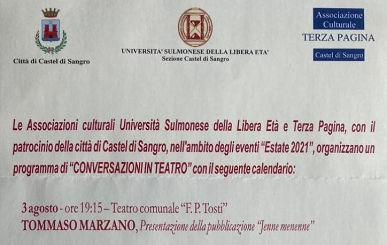 """Tommaso Marzano presenta """"Jenne, menènne"""" incontri culturali al Tosti """"Conversazioni in Teatro"""""""
