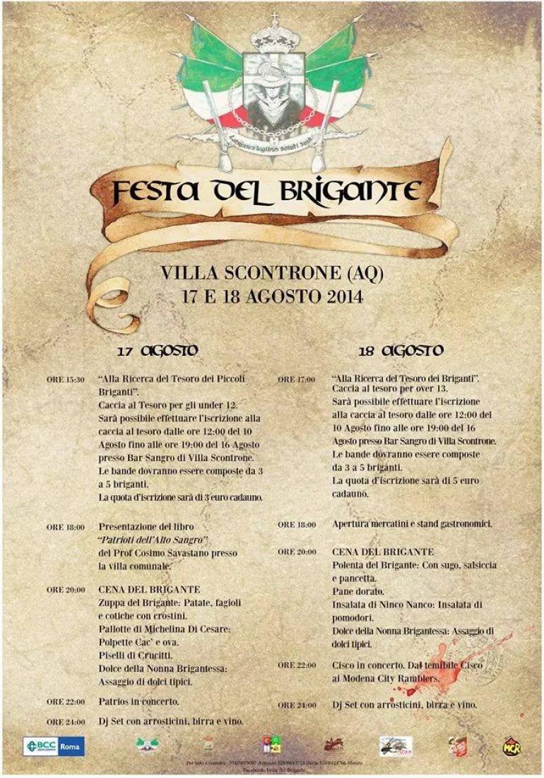 """Villa Scontrone: il 17 e 18 agosto la """"Festa del Brigante""""  tra musica, divertimento e tradizione"""
