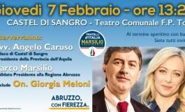 Regionali, comizio di Giorgia Meloni al teatro Tosti di Castel di Sangro