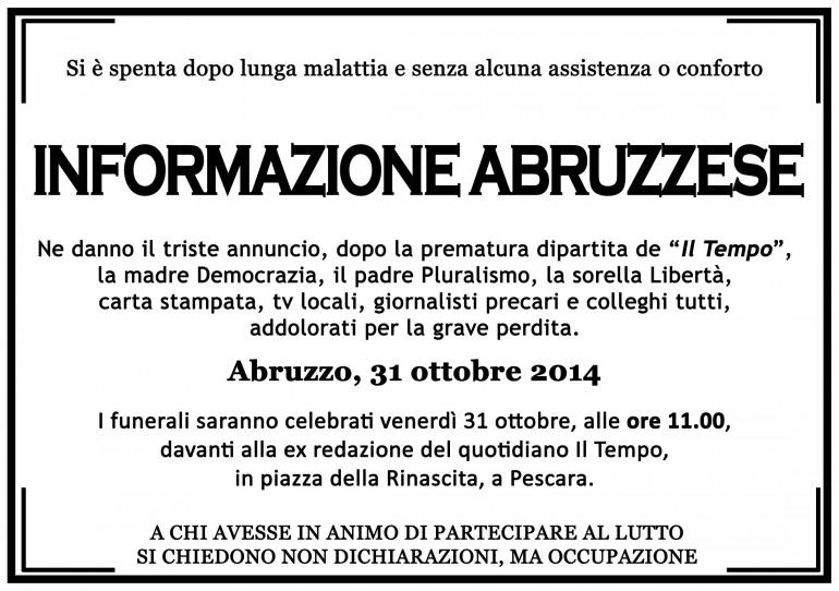 """E' lutto per l'informazione regionale: muore """"Il Tempo"""" di Abruzzo e Molise"""