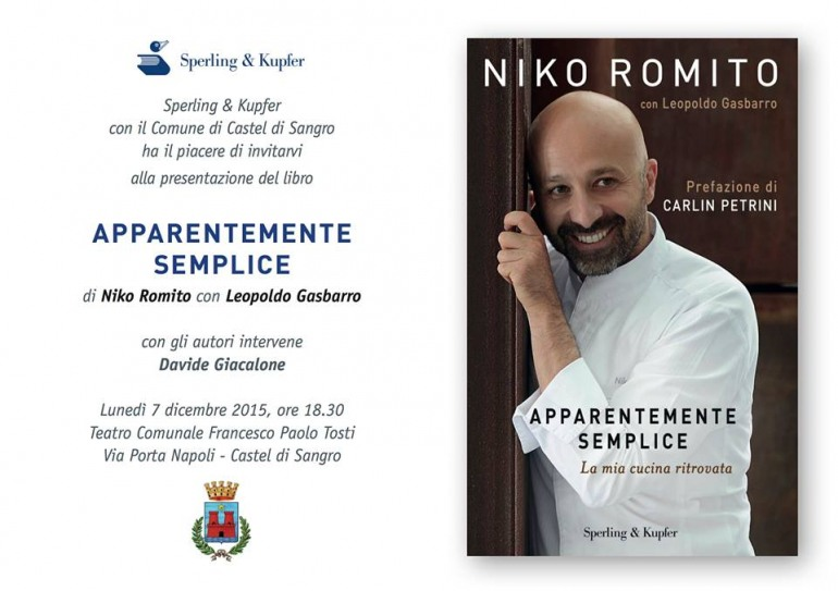 """""""Apparentemente semplice"""", la storia di Niko Romito : la presentazione il 7 dicembre a Castel di Sangro"""