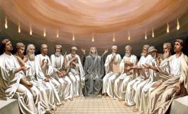 La Pentecoste e le lingue di fuoco sulle teste degli uomini