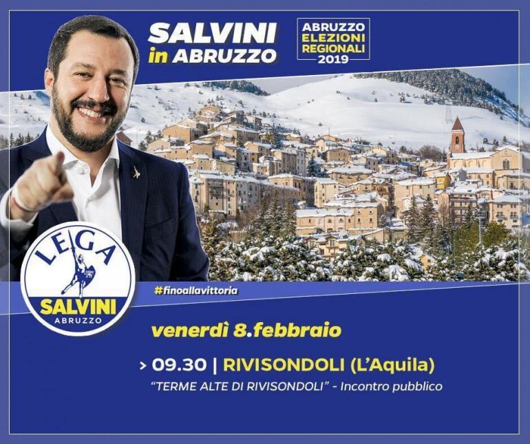 Regionali, il ministro Salvini a Rivisondoli per sostenere Giulia Donatelli