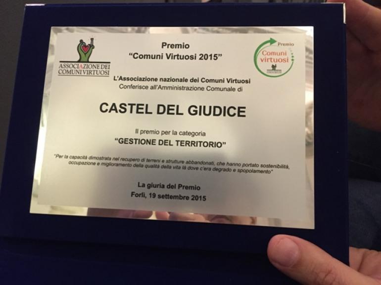 """Premio comuni virtuosi, Castel del Giudice sul podio per la """"Gestione del territorio"""""""
