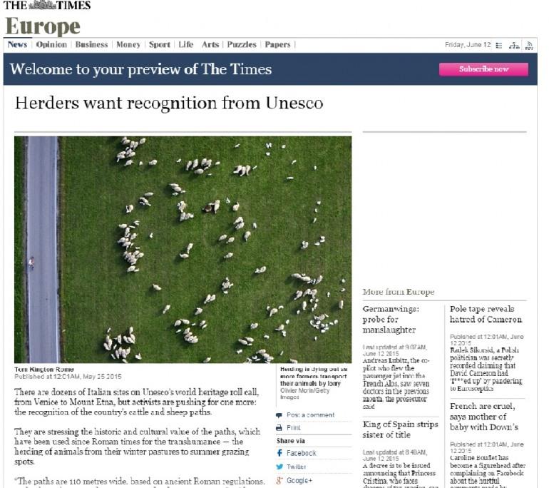 """La transumanza molisana vista dal quotidiano """"Times"""""""