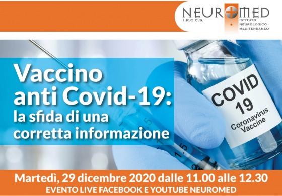 Vaccino anti Covid-19: dal Neuromed una diretta Facebook e YouTube per l'informazione responsabile