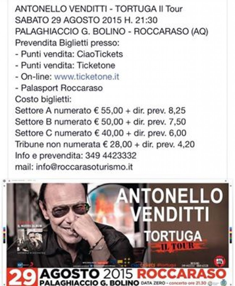 Roccaraso, annullato il concerto di Antonello Venditti